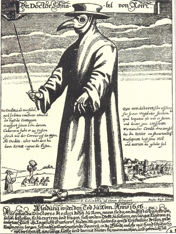 Собираясь к больному чумой, лекарь XVII века надевал защитную одежду-- балахон, шляпу, маску и очки. Надпись на рисунке гласит: «Как бороться со смертью в Риме в 1656 году, пользуясь защитной одеждой».